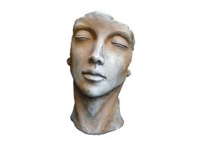 Statue Visage Femme Demi Rouille