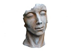 statue Visage Homme Demi Rouille