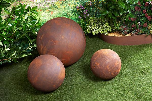 Sphère pleine métal effet rouille