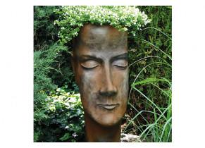 Jardinière visage femme effet rouille