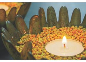 Gravier décoratif jaune moutarde 2/3 mm ambiance