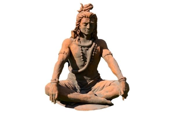 Statue Shiva assis effet demi rouille détouré