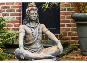 Statue Shiva assis effet demi rouille ambiance 2