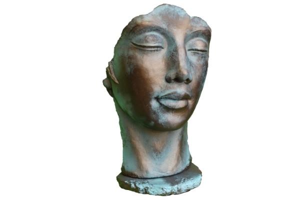 Statue Visage femme effet bronze