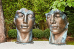 Visage femme statue jardin