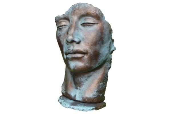 Statue Visage homme effet bronze
