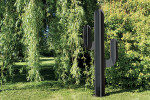 Sculpture exterieure Cactus metal gris deco jardin