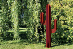 Sculpture exterieure Cactus metal rouge deco jardin